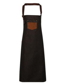 Premier Workwear Division Waxed Look Denim Bib Apron With Faux Leather - Black Tan Denim