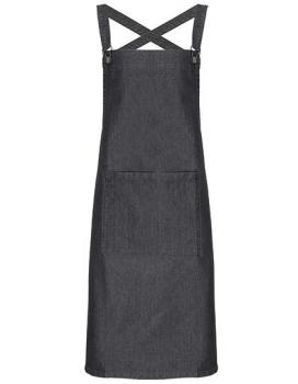 Cross Back Barista Bib Apron Black Denim