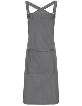 Cross Back Barista Bib Apron Grey Denim