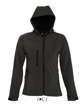 Womens Hooded Softshell Jacket Replay schwarz