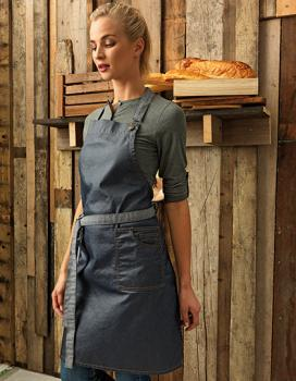 Premier Workwear District Waxed Look Denim Bib Apron