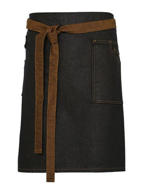 Premier Workwear Division Waxed Look Denim Waist Apron Black Tan