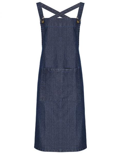Cross Back Barista Bib Apron Indigo Denim