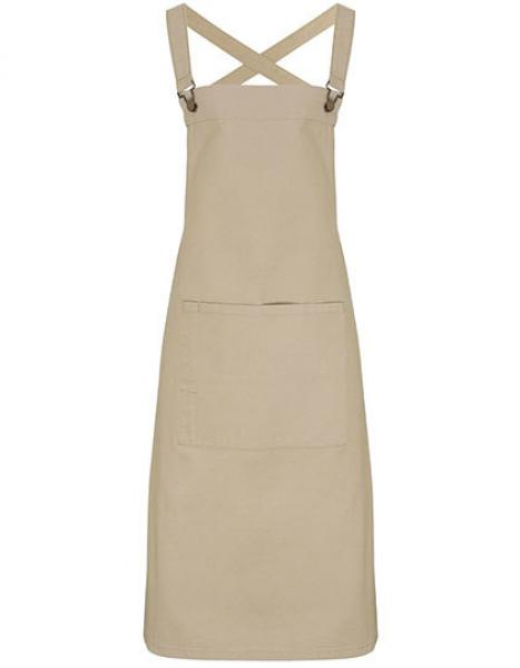 Cross Back Barista Bib Apron Khaki