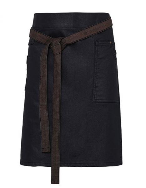 Premier Workwear Division Waxed Look Denim Waist Apron Indigo Brown
