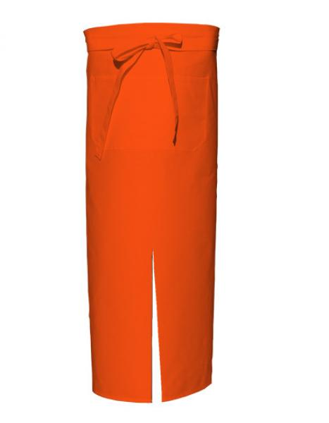 Orange Bistro Apron with Split and Front Pocket