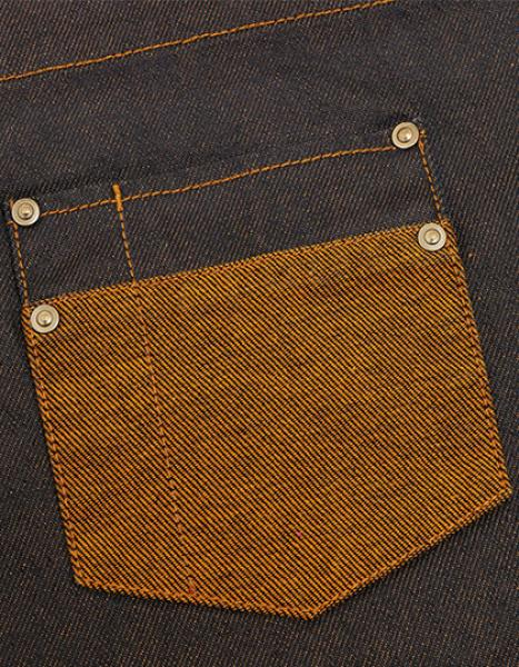 Premier Workwear Division Waxed Look Denim Bib Apron With Faux Leather