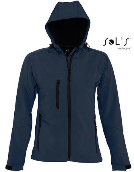 Womens Hooded Softshell Jacket Replay french navy