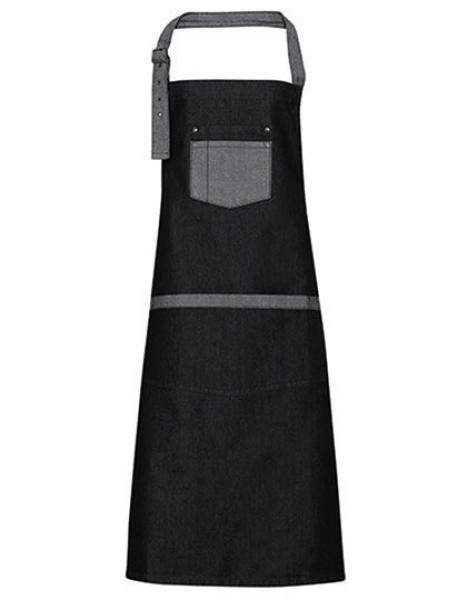 Black Denim Premier Workwear Domain Contrast Denim Bib Apron