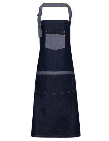 Indigo Denim Premier Workwear Domain Contrast Denim Bib Apron