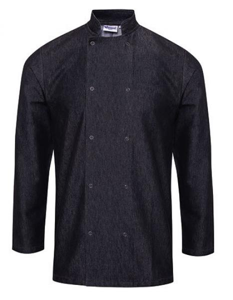 Premier Workwear Denim Chefs Jacket Black Denim