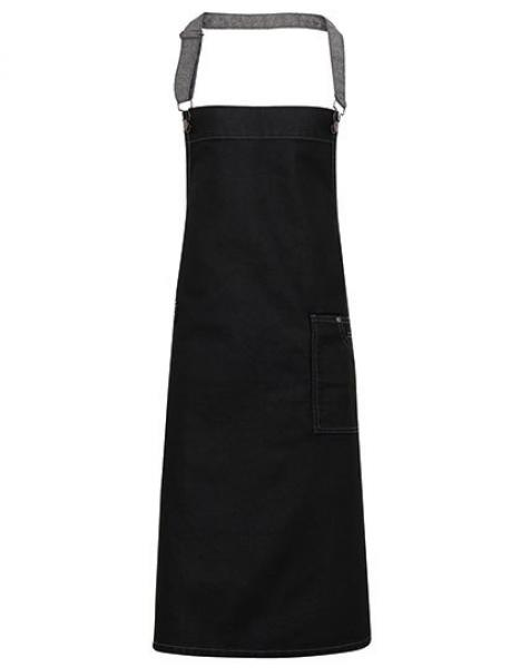 Premier Workwear District Waxed Look Denim Bib Apron  Black Denim