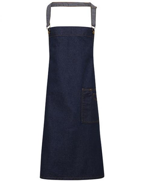Premier Workwear District Waxed Look Denim Bib Apron  Indigo Denim