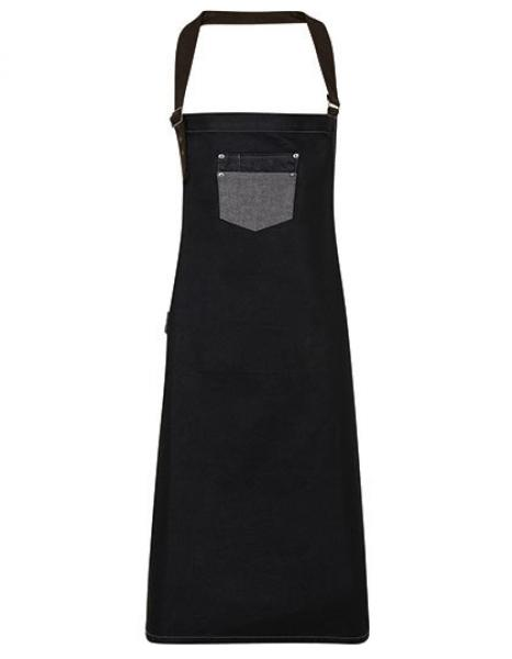 Premier Workwear Division Waxed Look Denim Bib Apron With Faux Leather - Black Denim