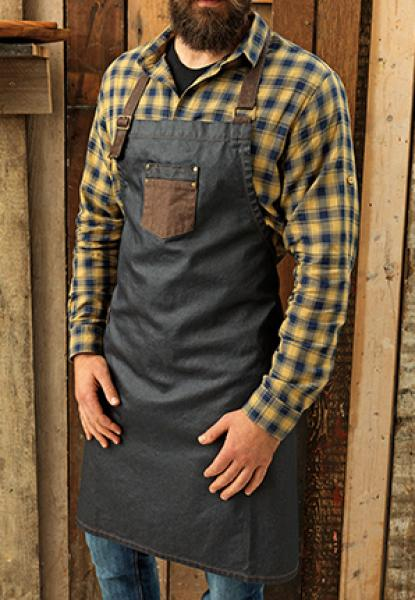 Premier Workwear Division Waxed Look Denim Bib Apron With Faux Leather - Black / Tan Denim