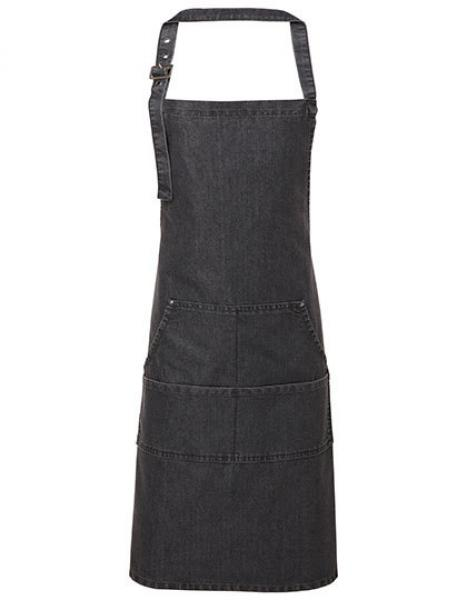 Premier Workwear Jeans Stitch Denim Bib Apron Black Denim