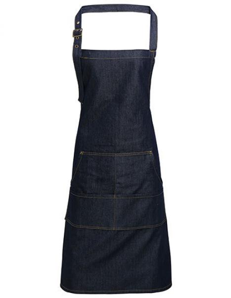 Premier Workwear Jeans Stitch Denim Bib Apron Indigo Denim