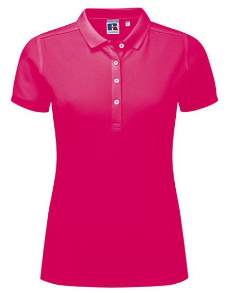 Russell Ladies Stretch Polo Fuchsia