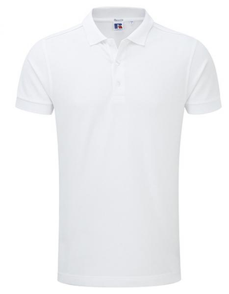 Russell Mens Stretch Polo White